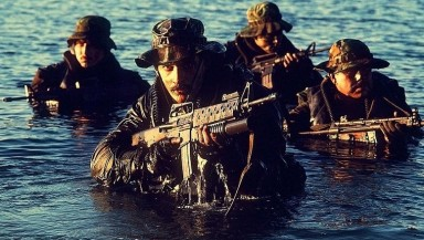 Seal team emerging from water