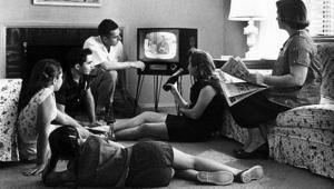 television-watching family